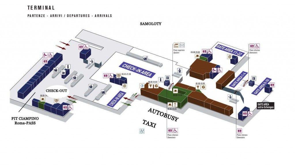 Lotnisko CIAMPINO - mapa terminalu