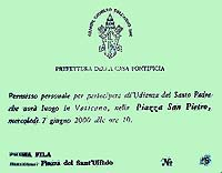 Audiencja papieska - wejściówka