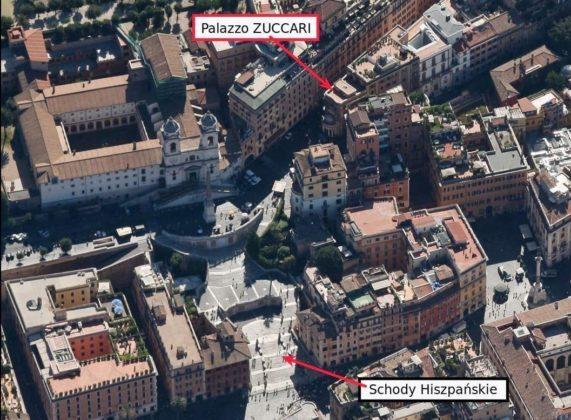 Położenie Pałacu Zuccari
